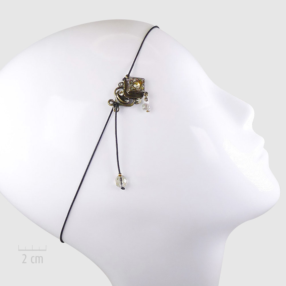 accessoire pour cheveux : Bijou de tête bohème, sensualité rétro 1900, Art Déco et orientalisme. Serre-tête bronze, pastel et féminin. UNE IDÉE de cadeau pour femme, jeune fille. Création ZOR