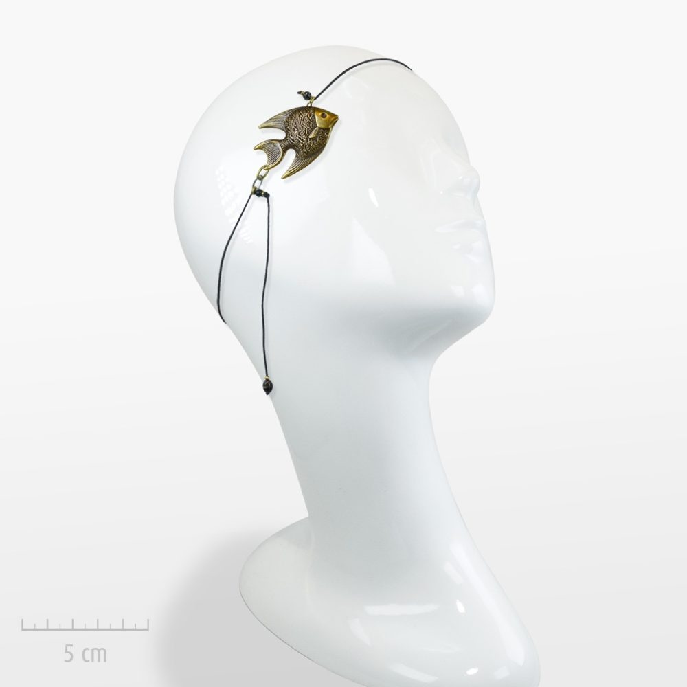 accessoire de cheveux ethnique 1 : Bijou de tête aquatique,élastique cheveux, collier pendentif. Poisson d'avril?Style ethnique et bronze rétro. Création Zor Paris pour femme ou enfant