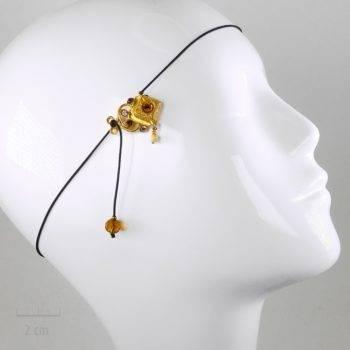 Accessoire de cheveux Ethnique 2, bijou de tête, élastique cheveux ou collier pendentif. Sensualité orientale, doré à l'or fin, pour femme ou enfant. Sébicotane, Zor