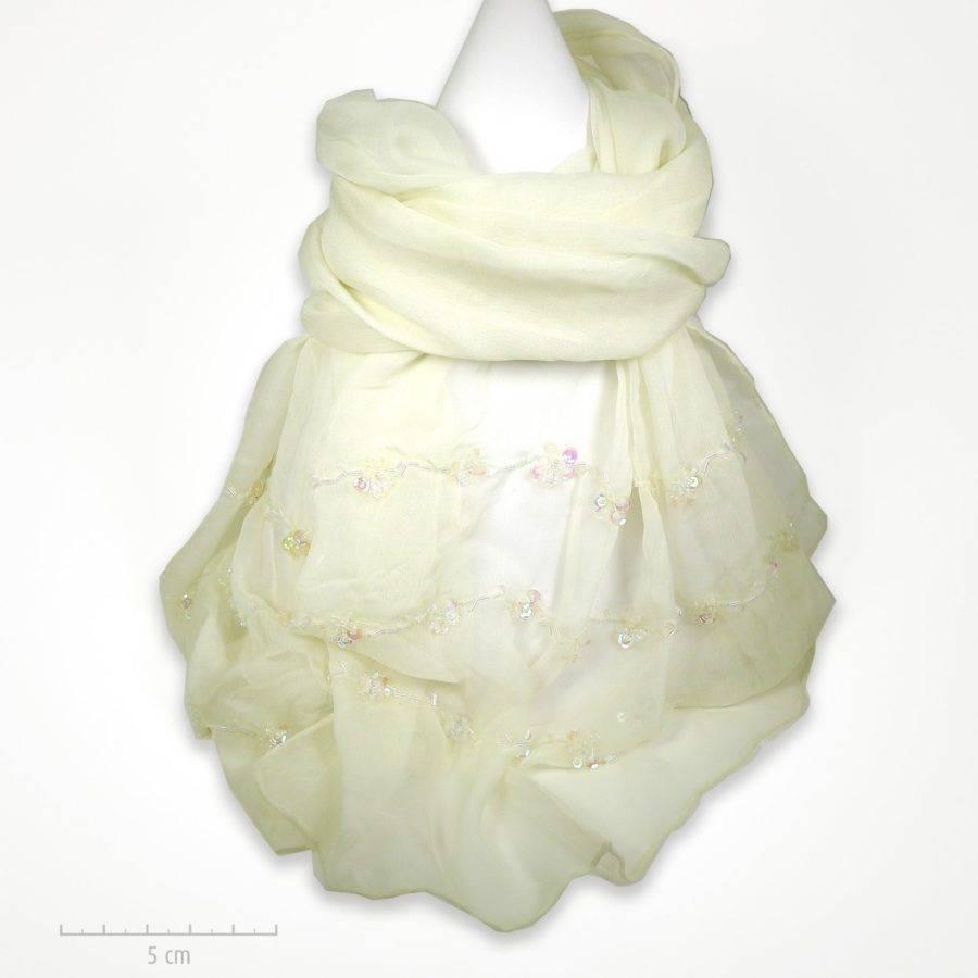 Étole mousseline 100% soie beige ivoire, douce et légère. Foulard Zor brodé de petites paillettes fleurs. Cadeau évènement religieux, fête des mères