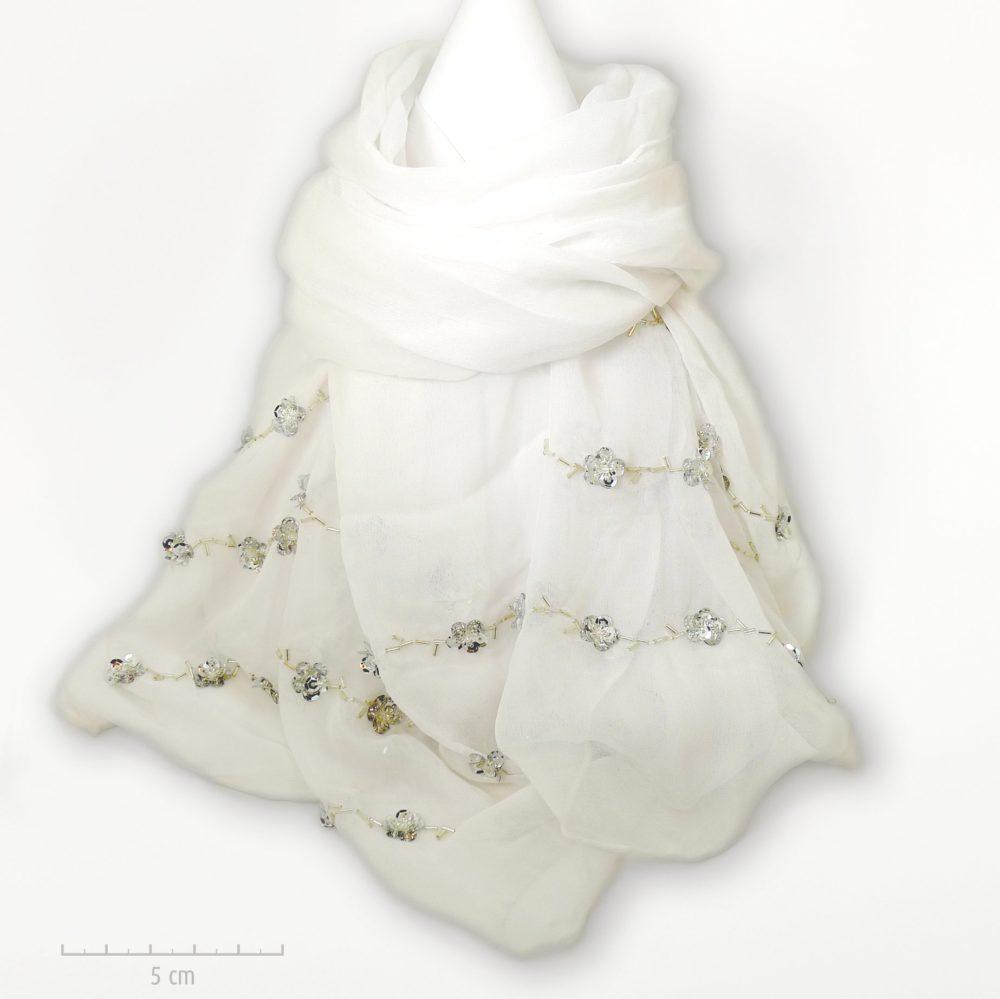Étole 100% soie crêpe blanc. Foulard Zor brodé de petites paillettes fleurs argent. Cadeau mousseline pour évènement religieux, Baptême, fête des mères