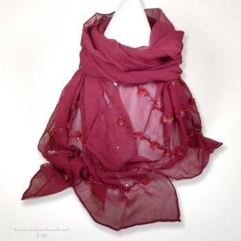 Étole Zor 100% crêpe de soie framboise rouge bordeaux. Foulard brodé de petites paillettes fleurs. Cadeau mousseline femme enfant, fête des mères