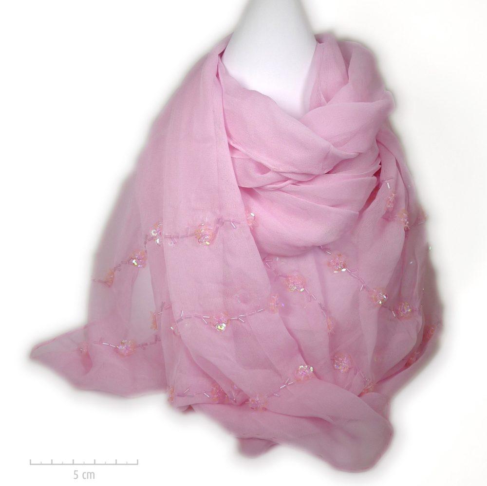 Étole 100% soie, crêpe rose poudré Marilyn. Foulard brodé de petites paillettes fleurs. Cadeau mousseline femme, enfant, fête des mères, Zor paris