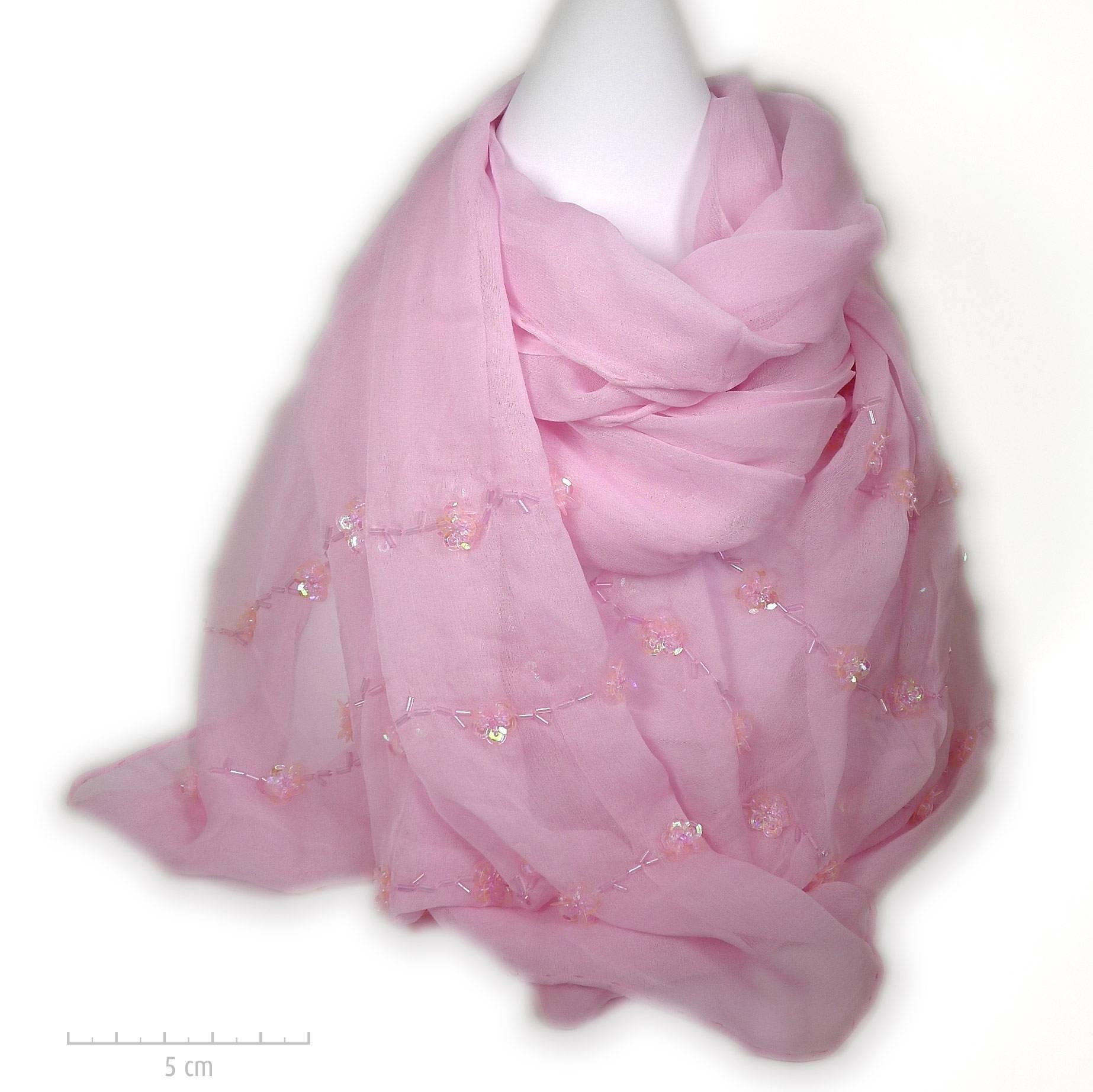 Étole 100% soie, crêpe rose poudré Marilyn. Foulard brodé de petites  paillettes fleurs eb3594e55e0