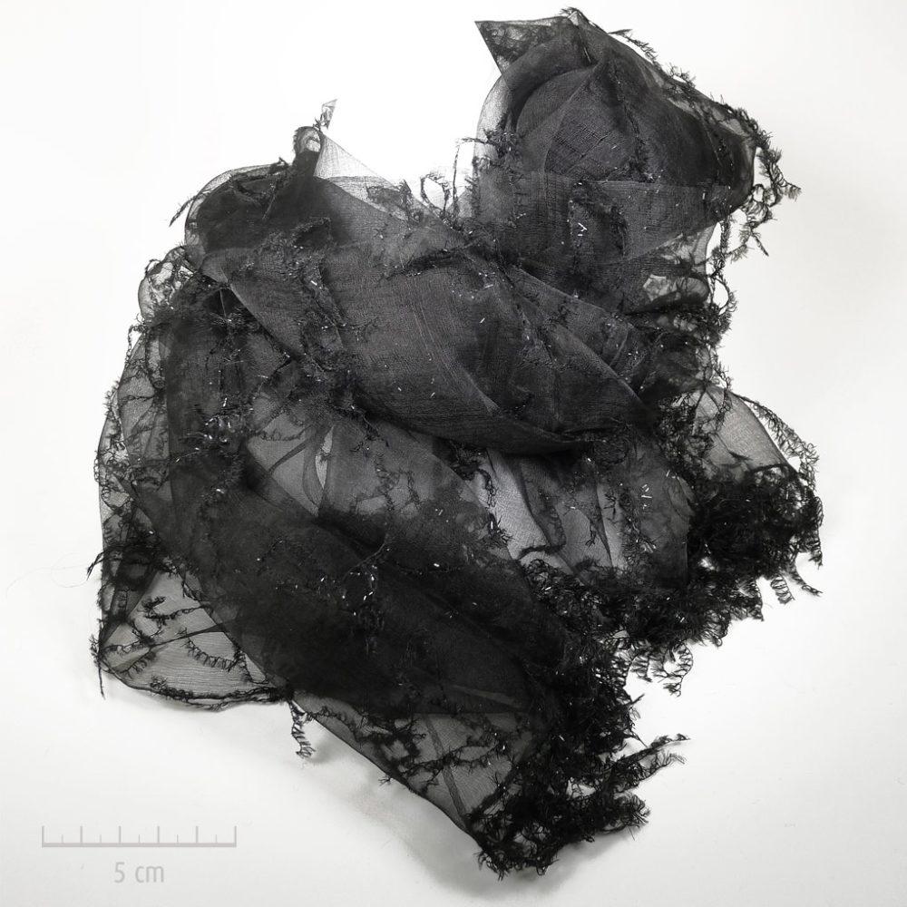 Grande étole de soie transparente, mode cabaret 1900 noir et argent, habillé. Rétro ou contemporain, accessoire glamour pétillant et sensuel. Zor paris