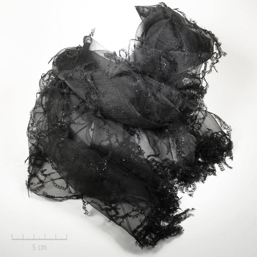 Grande étole de soie transparente, mode cabaret 1900 noir et argent,  habillé. Rétro 6d2b49e5fdd