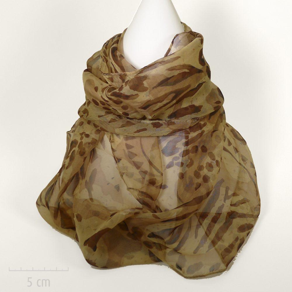 Féline: foulard rectangle en mousseline. Imprimé panthère années Saint Tropez de Bardot. Fibre soie végétale nature viscose. Femme Zor créations Paris