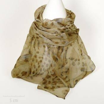 Féline: foulard de mousseline marron. Sensuel imprimé panthère années Saint Tropez de Bardot. Fibre nature viscose. Femme Zor créations Paris