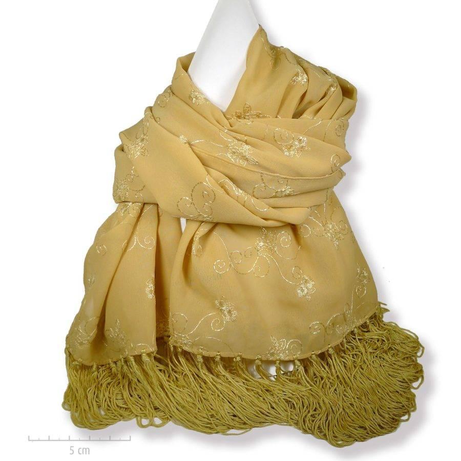Echarpe caramel, brodée à longues franges 1900 Arty déco. Grand foulard plaid, Bohème oriental toutes saisons. Viscose végétale. Création Zor Paris