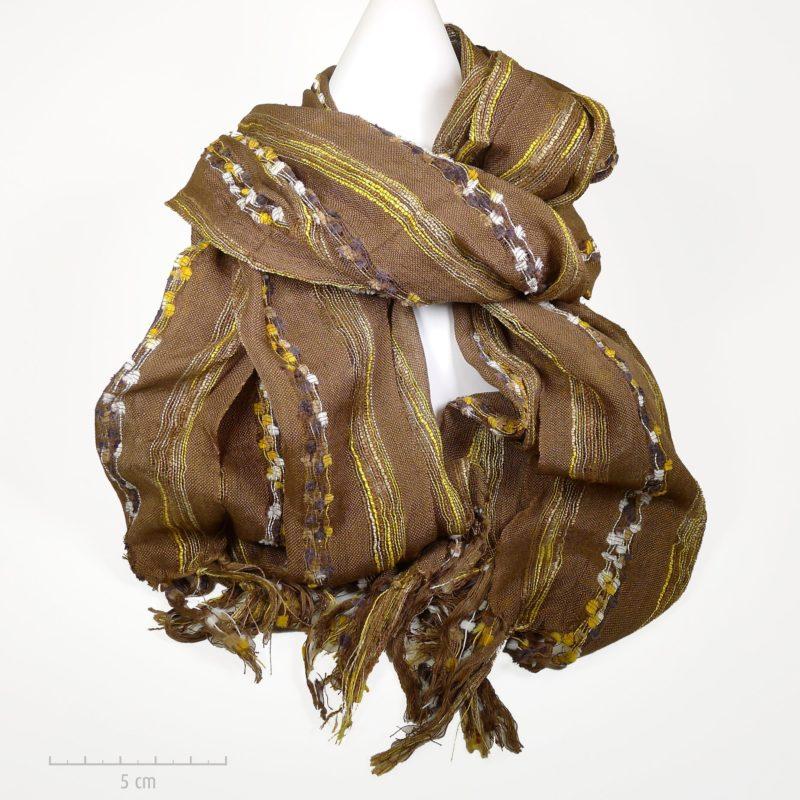 Echarpe chèche marron foncé en coton. Grande étole plaid homme, femme,  enfant ado 714d2bf9324