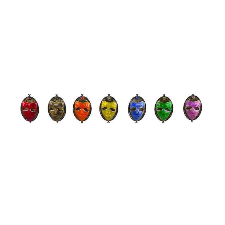 Petit bijou masque Arlequin, boucle d'oreilledormeuse percée. Couleur Jaune, Vert, Noir, Bleu, Violet, Orange, symbole du livre d'aventure de R.Ricci. Zor Création