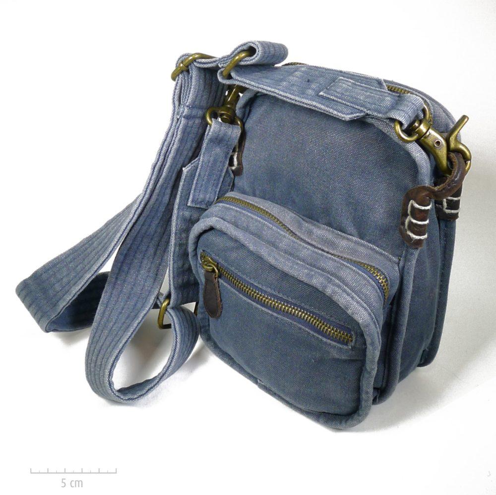 Petite sacoche bandoulière, toile épaisse denim, coton bleu jean et cuir, design unisexe. Cadeau solide et pratique, homme, femme, ado. Création Zor