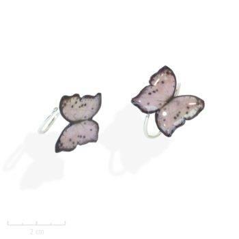 Petite bague ludique, mini papillon naïf, rose nude. Délicat symbolise de l'âme Bijou nature poétique, argent massif 925/1000ème. Création Sébicotane Zor Fantaisie