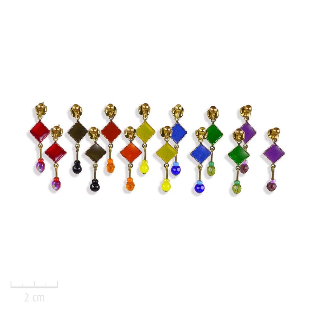 Boucle d'oreille percée, mini perle pendante. Bijou carré losange, symbole d'arlequin Rouge Jaune, Vert, Noir, Bleu, Violet, Orange. Création Zor paris