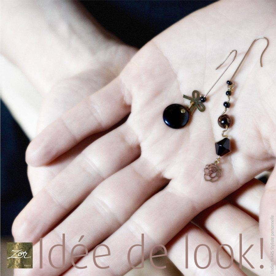 Longue et fine boucle d'oreille MONO, percée pendante. Perles noires Jais vintage romantique, classique intemporel. Créez votre look! Création Zor paris