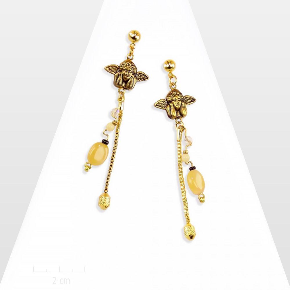 c3b7621f71c Longues boucles d oreilles ange gardien avec agate pierre naturelle. Bijou  message SENTIMENTAL