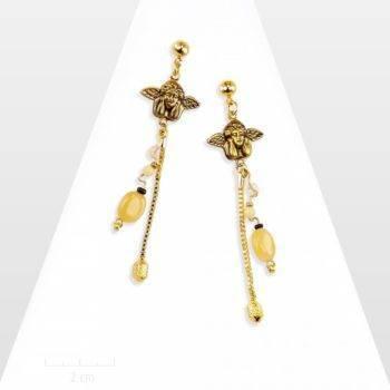 Longues boucles d'oreilles ange gardien avec agate pierre naturelle. Bijou message SENTIMENTAL: le cupidon symbole d'amour et d'amitié. Création Zor paris