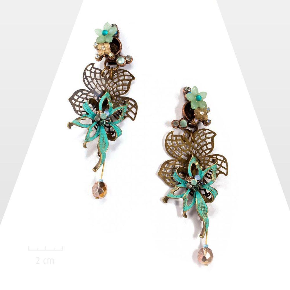 Très grandes boucles d'oreilles clip fleur haut de gamme, turquoise bleu. HOMMAGE à Jean Cocteau, la nature sublime, La Belle et la Bête. Création Zor Paris