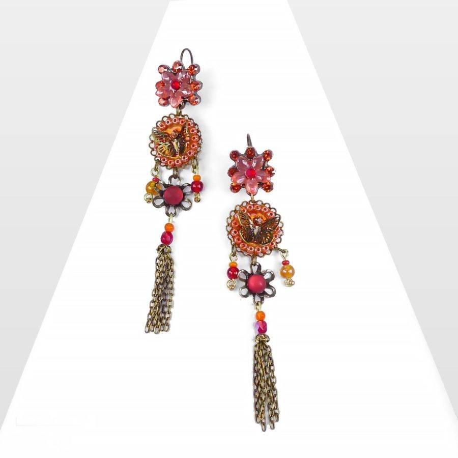 Longues boucles d'oreilles papillons et fleurs en dormeuses. ONIRIQUE: bijou féérique et haut de gamme, au symbole de l'âme et liberté. Création Zor paris