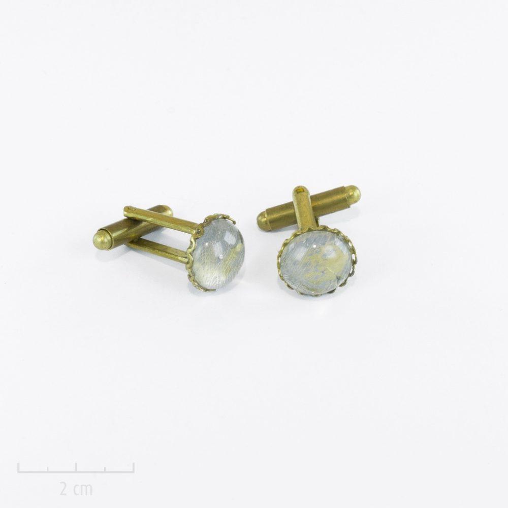 Bouton de manchette fantaisie cristal aquatique pour homme et femme. Accessoire Perle d'eau, goutte de rosée céleste, boule à neige magique. Création Zor Paris