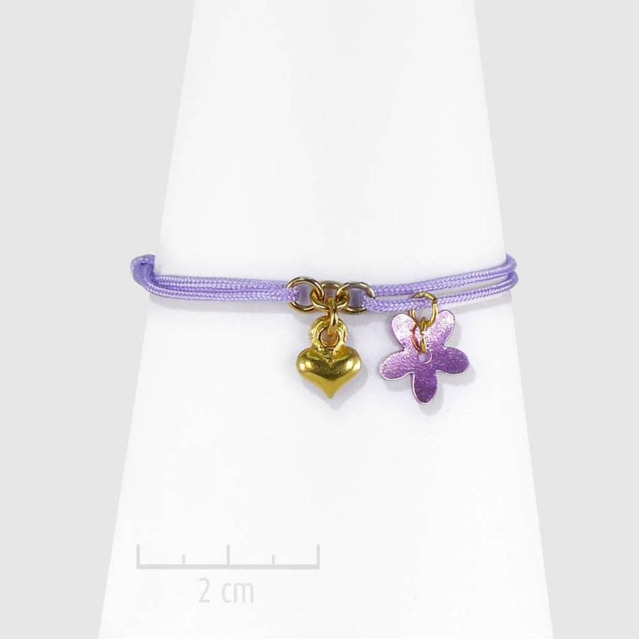 """Bracelet bohème, lacet fin à nœud coulissant, avec miniature """"coeur d'or"""" pendantif charm. Cadeau spécial, symbole universel:amitié, amour, tendresse. Création ZOR"""