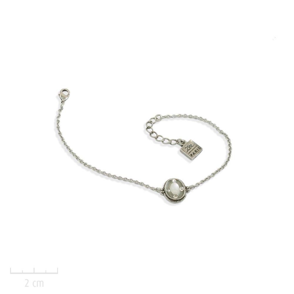 Bracelet gourmette bohème, argenté et chaîne fine. Glamour rétro et design actuel. Sensuel, féminin starlette icône des années 20. Couleur opale diamant. Création Zor