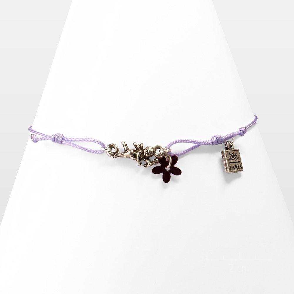 Bracelet enfant, ange gardien argent à cordon. Bijou vintage porte bonheur, symbole d'amour ou d'amitié. Fille 8 12ans. Création Sébicotane Zor Paris
