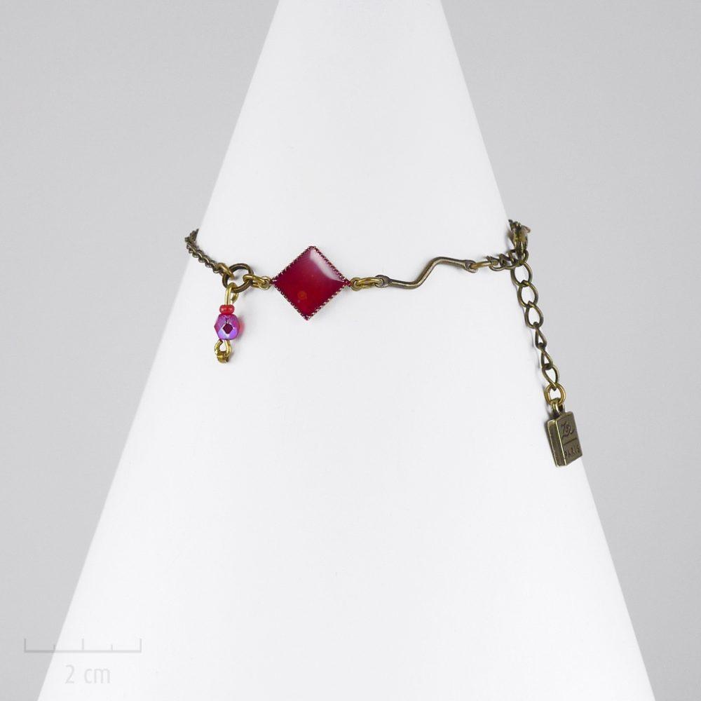 Bijou ENFANT losange, bracelet gourmette chaîne fine argent. Symbole de l'Arlequin rouge. CONCEPT arc-en-ciel, fille et ado. Création Zor