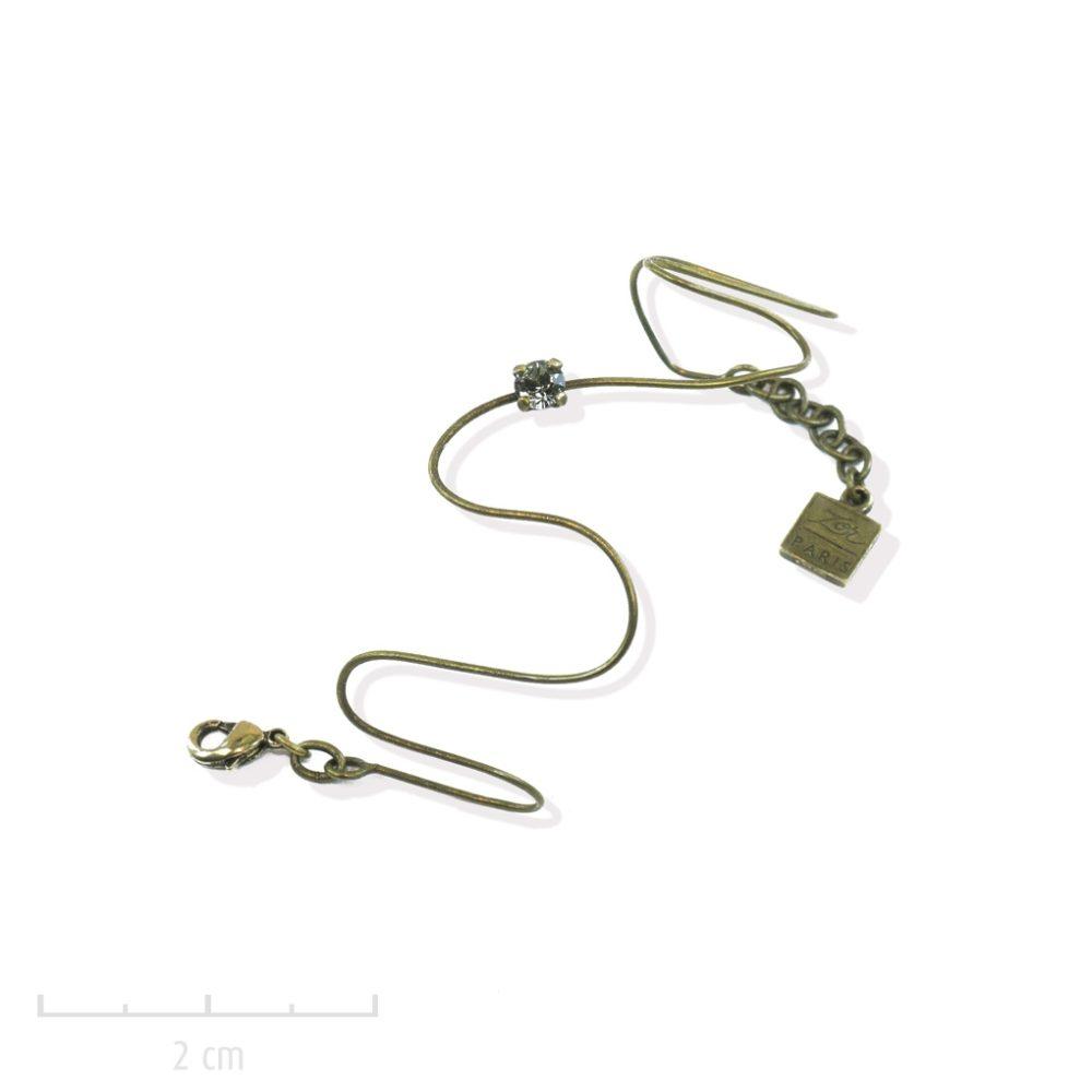 Bracelet enfant fil strassé de cristal gris clair. Bijou vintage, âge 3, 8, 12ans, ados, taille réglable et antiallergique. Cadeau Création Zor Paris