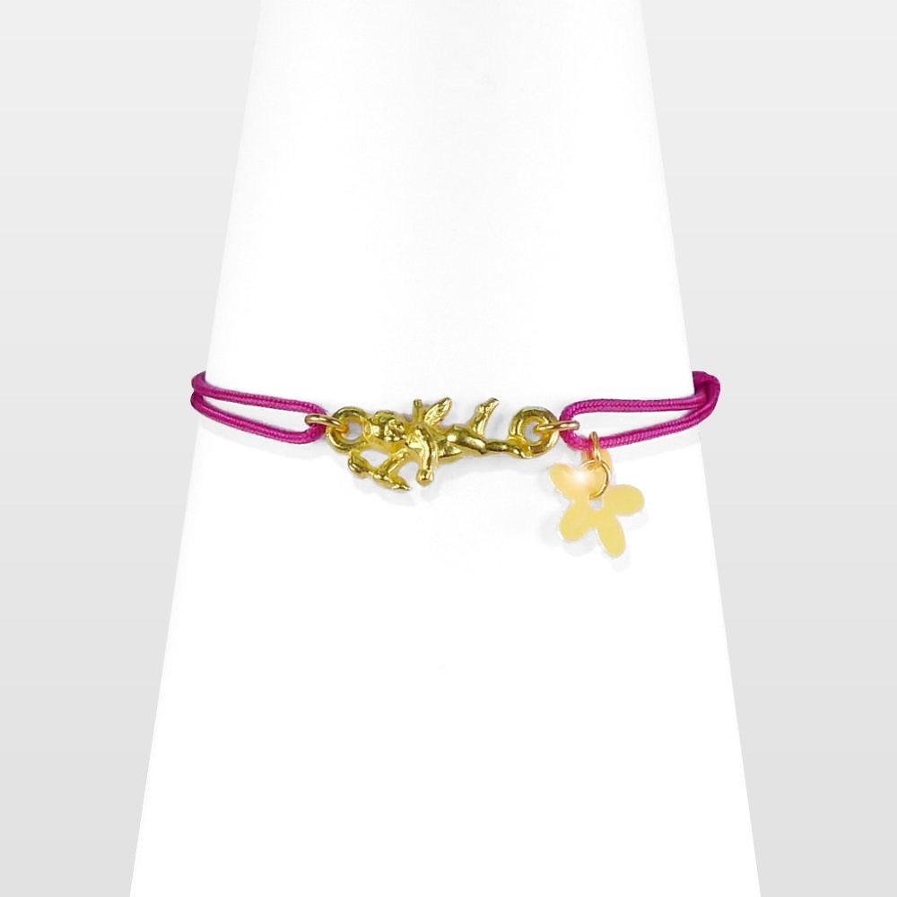 Bracelet enfant, ange gardien doré sur cordon rose. Bijou rétro porte bonheur, symbole d'amour ou d'amitié. Fille 3 8ans. Création Sébicotane Zor Paris