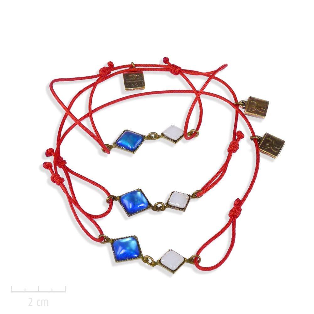 """Bracelet ENFANT, message d'amour et de solidarité: cristal bleu, blanc, rouge, """"Allons ensemble"""". Bijou drapeau, unisexe. Création Zor"""