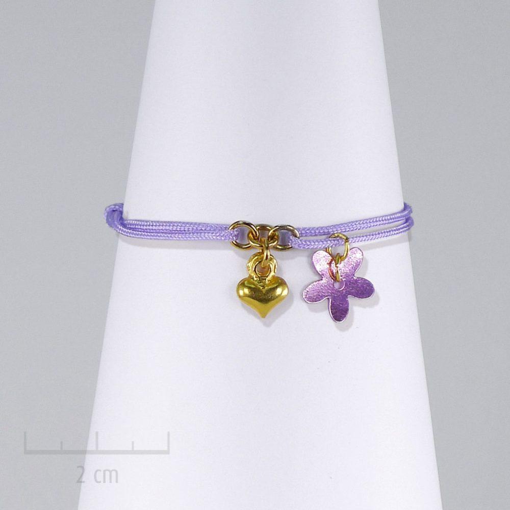 Bracelet enfant coeur d'or sur cordon parme rose. Bijou glamour symbole d'amour ou d'amitié. Fille 3, 8ans et taille réglable. Création Zor Paris
