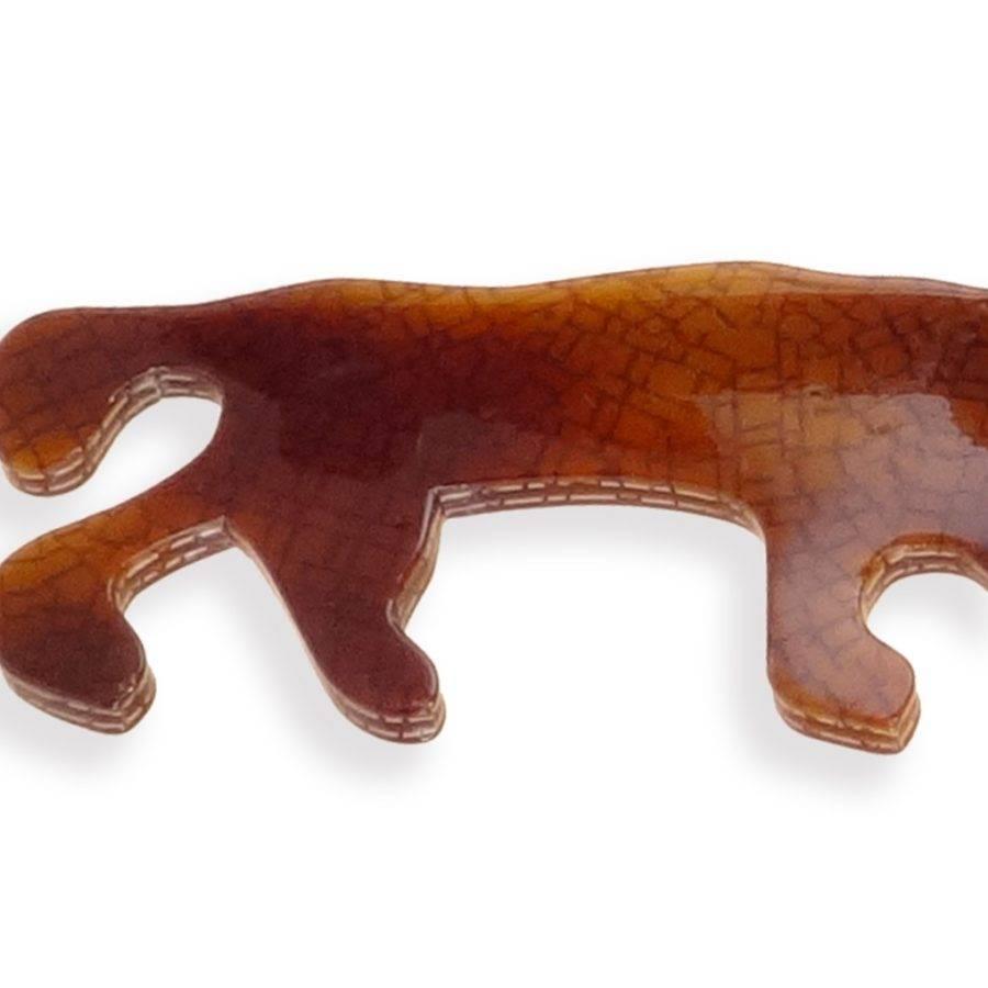 Bracelet manchette ethnique et féline bronze. Panthère marron, galbée détail photo esprit Bakélite. Bijou fantaisie création Zor. Fête à St Tropez de Brigitte bardot