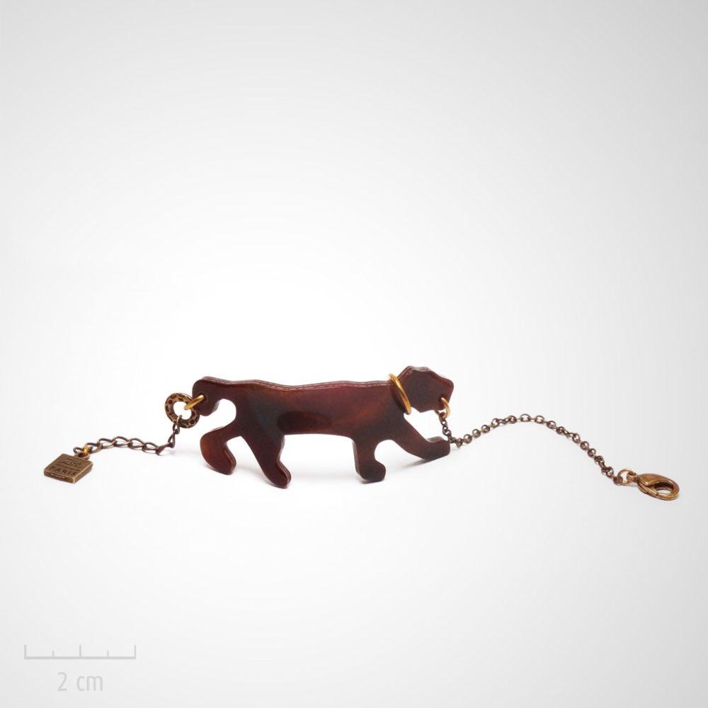 Bracelet manchette ethnique et féline bronze. Panthère marron, galbée façon Bakélite. Bijou fantaisie création Zor. Esprit fête à St Tropez de Brigitte bardot