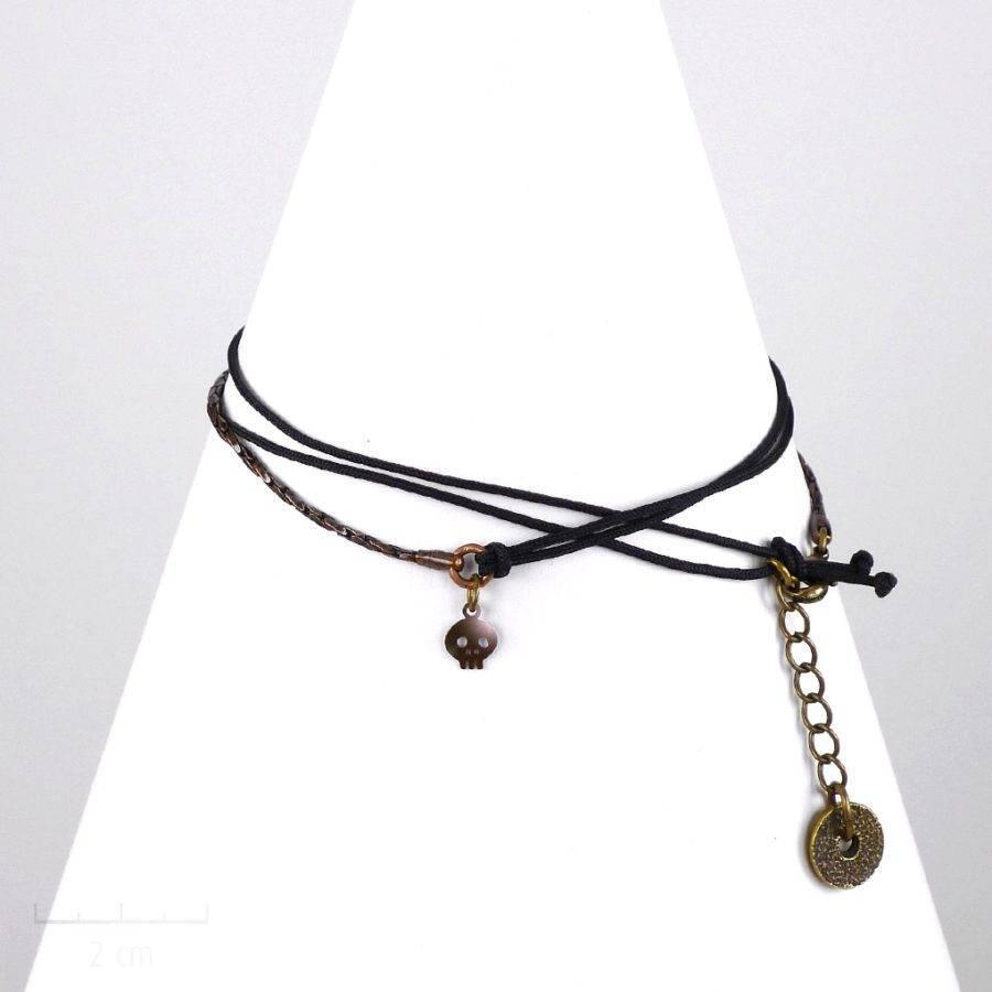 Bracelet multirang homme, style biker. Bijou multirang lien noir et chaîne serpent souple, modulable en collier. Charm pendentif tête de mort. Création Zor