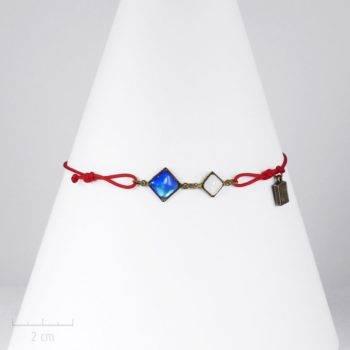 """Bracelet HOMME Zor, moderne au symbole d'amour et d'humanité: cristal bleu, blanc, rouge, """"Allons ensemble… """". Bijou drapeau, message de solidarité"""