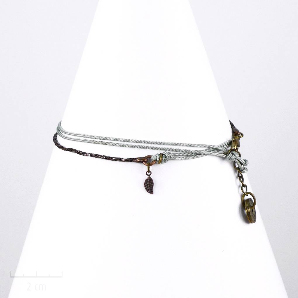 616b9e8ba71a3 Bracelet multirang homme, style sioux bohème. Bijou multirang textile et  chaîne serpent souple,