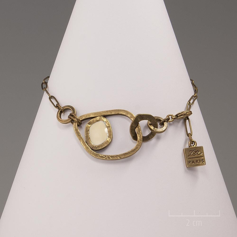 Bracelet moderne et sculptural. Bijou cubiste chaîne bronze antique. Création Zor Paris, haute fantaisie, réversible couleur ivoire ou cristal
