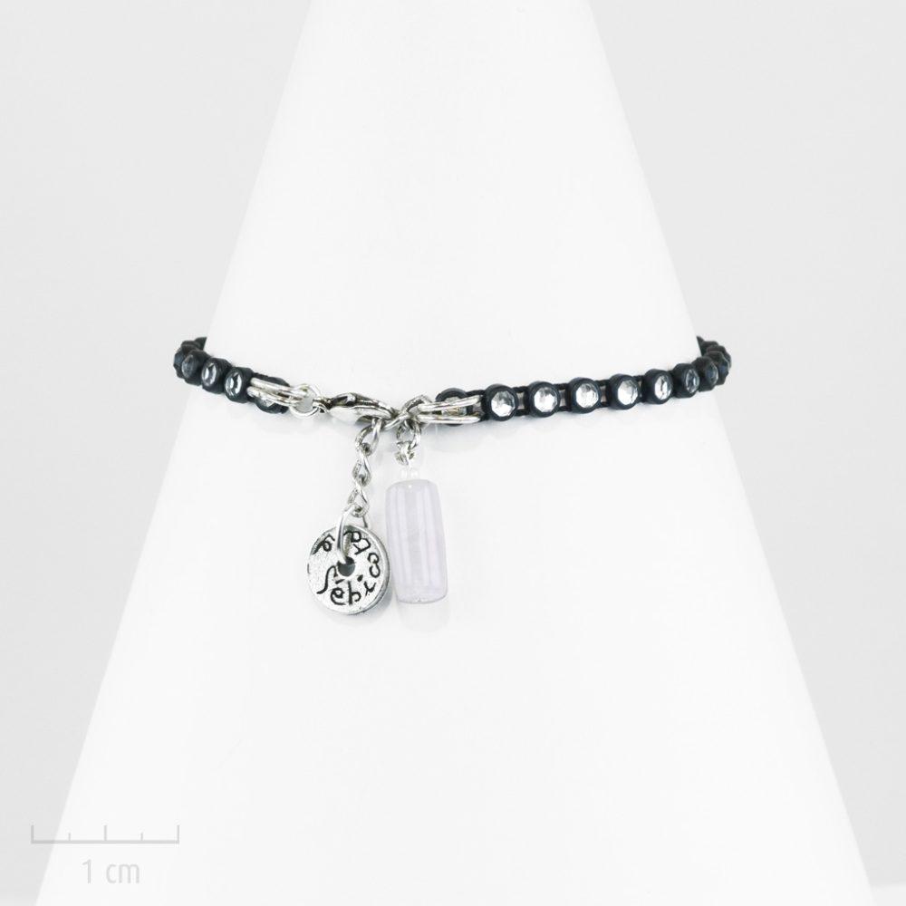 Bracelet moderne, charme sobre, élégant et festif glamour. Look précieux cristalRock & Strass, nuit blanche à Ibiza, star poeple St Tropez. Noir, quartz rose, Zor et Sébicotane
