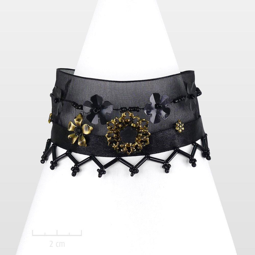 Bracelet rétro noir, style charleston. Manchette en dentelle, bijoud'antan au lookromantique sensuel, féminin nostalgique. Parurier Zor Paris