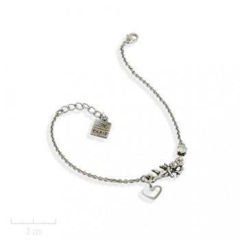 Bracelet message, gourmette fantaisie petit ange gardien porte bonheur. Bijou charm sur chaîne fine. Argent, cristal, blanc, opale. Création Zor paris