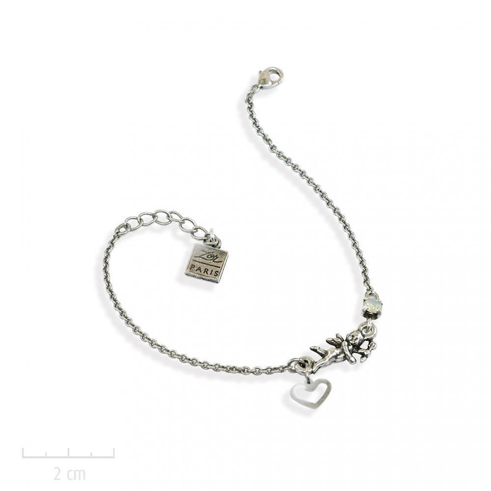 Bracelet message, gourmette fantaisie petit ange gardien porte bonheur.  Bijou charm sur chaîne fine