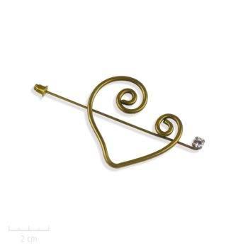Broche pic coeur bohème, accessoire de mode utile: fibule à l'ancienne, design contemporain et baroque. Symbole d'amour, cristal, marron. Création Zor