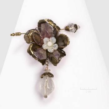 Spectaculaire grande broche fleur haut de gamme: la vie de bohème! Bijou pic modulable en pendentif. STYLE vintage, habillé. pastel rose, blanc. Création Zor