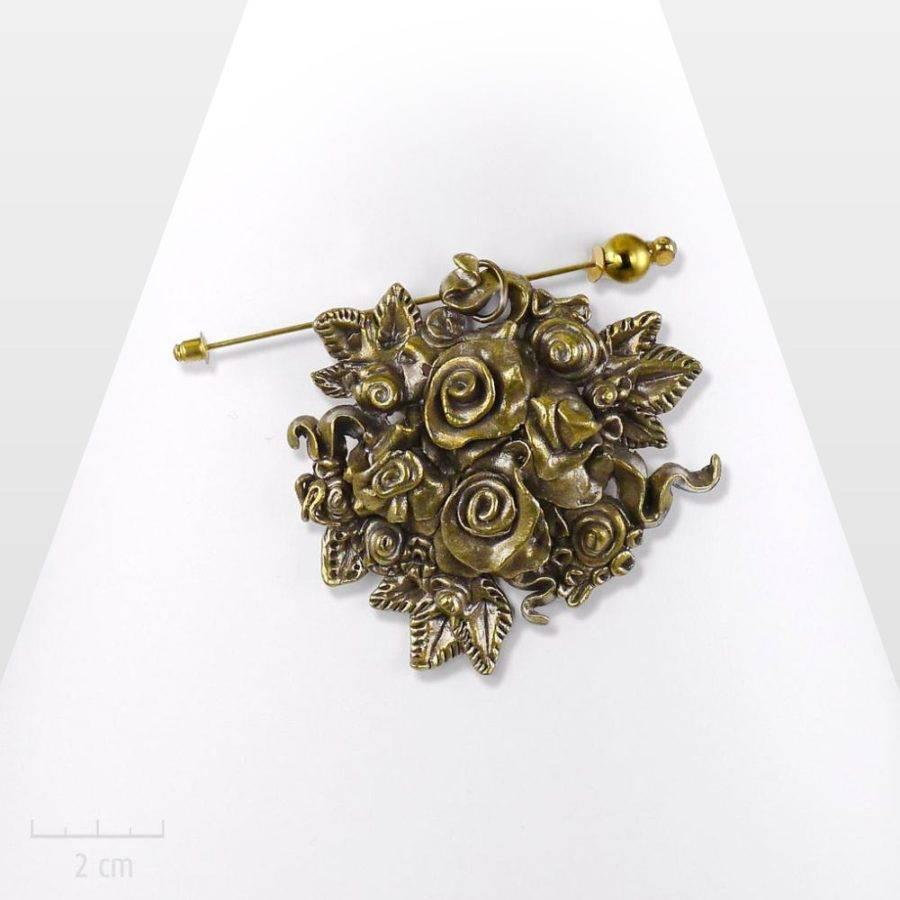 Offrez un bouquet de fleurs éternelles. Bijouromantique, grande broche fibule modulable enpendentif. Bronze rétro, cadeau fête des mères.Création Zor Paris