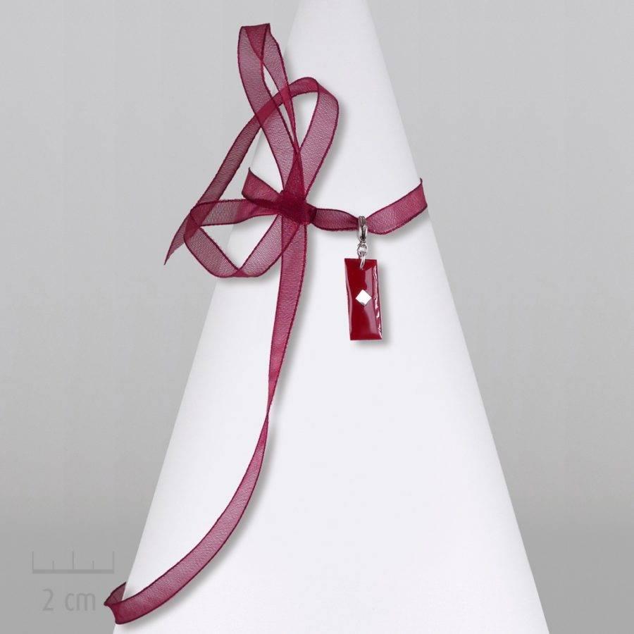 Grigri rectangle, accessoire unisexe: pampille charmpendentif. SYMBOLE du drapeau del'Arlequin Rouge. Bijou emblème des peuples imaginaires. Zor Design