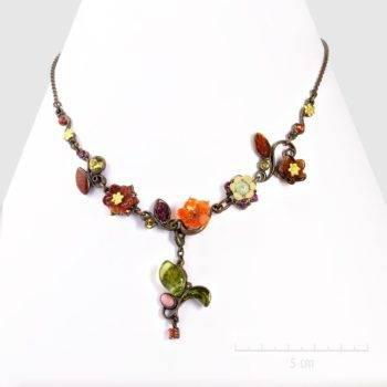 """Collier bohème, petites fleurs raffinées, inspiré de l'artiste célèbre Klimt"""", bijou baroque, nature luxuriante. Couleur or fauve. Zor création artisanale Paris"""