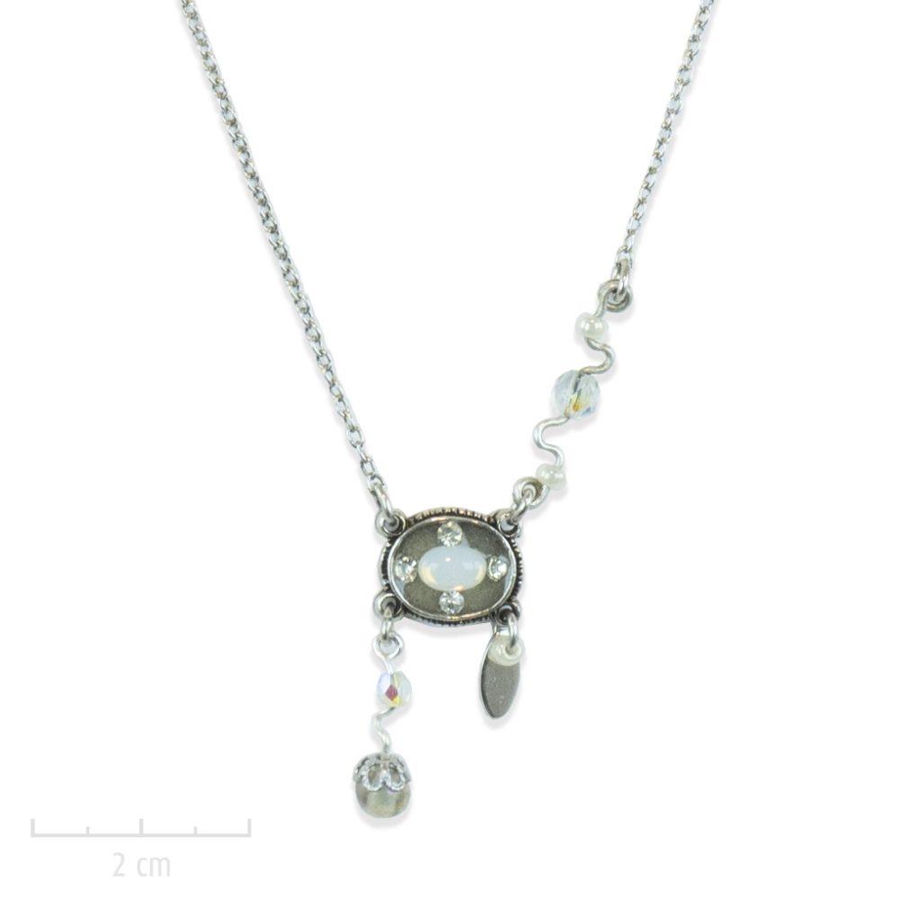 Petit collier pendentif 1900, bohème rétro et cristal opale. Bijou chaine fine argent intemporel pour femme sophistiquée et féminine. Créations Zor fantaisie Paris