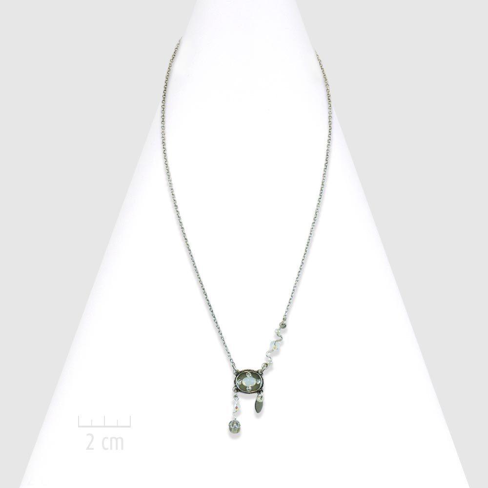 9a116ca139c03 Petit collier pendentif 1900, bohème rétro et cristal opale. Bijou chaine  fine argent classique