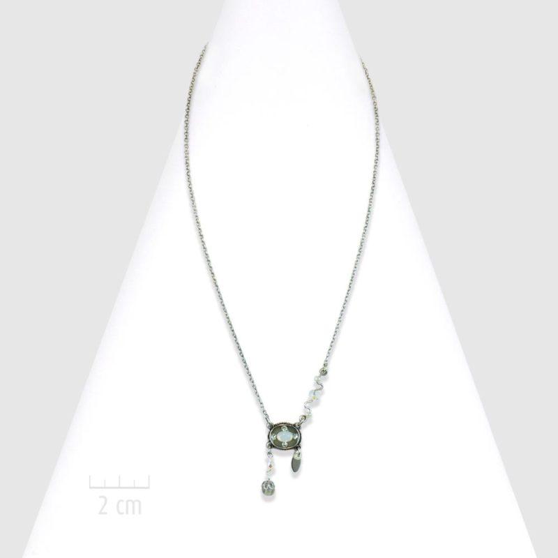 Petit collier pendentif 1900, bohème rétro et cristal opale. Bijou chaine fine argent classique pour femme sophistiquée et féminine. Créations Zor fantaisie Paris